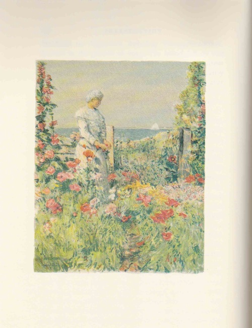 Celia Thaxter in her Island garden painted by her friend Childe Hassam