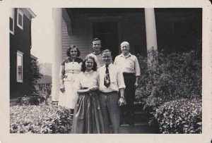 My Dad with my Mother in front with his Mom, Dad and brother behind